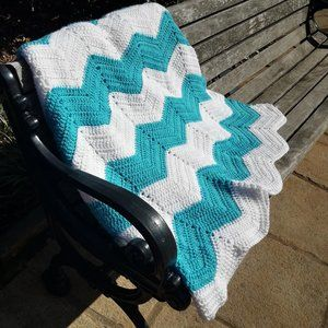 Hand Crocheted Blanket Teal White Throw Baby Zig